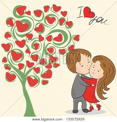 Greeting card love tree the inscription I love you loving couple and a place for an inscription vector illustration