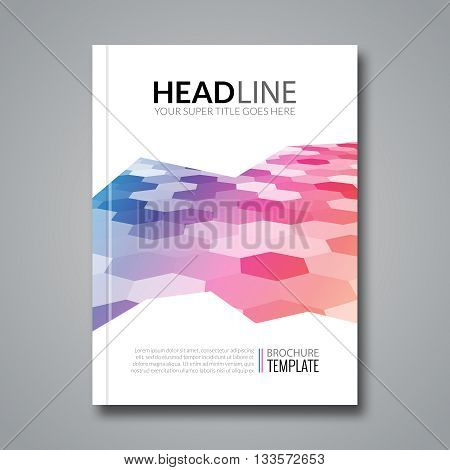 Hexagonal bacgkeound business flyer brochure template. Colorful hexagons.