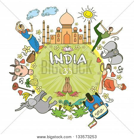 Welcome to India . Set India color vector icons and symbols vector illustration