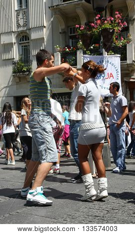 BELGRADE SERBIA-JUN 26 2011:Young people give public lesson of dance within manifestation Belgradization of Belgrade
