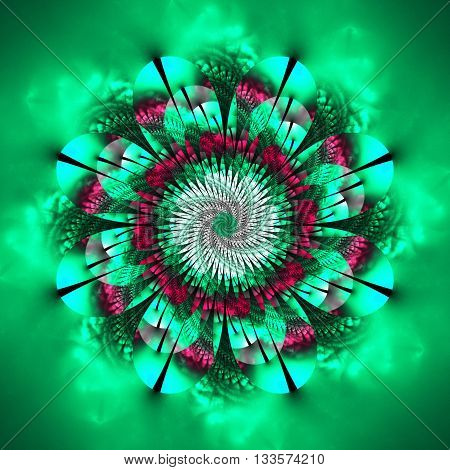 Abstract flower mandala on blurred background. Symmetrical pattern in blue green and pink colors. Fantasy fractal design for postcards wallpapers or clothes.