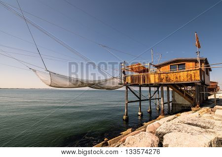 Trabucco trebuchet trabocco - traditional fishing houses in south Italy.