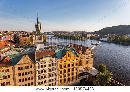 Prague Vltava River at old waterworks. View from Old Town Bridge Tower. Spring in Prague Czech Republic