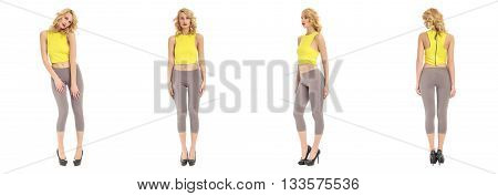 Young And Beautiful Woman In Gey Leggings Isolated
