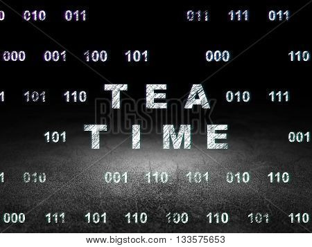 Time concept: Glowing text Tea Time in grunge dark room with Dirty Floor, black background with Binary Code