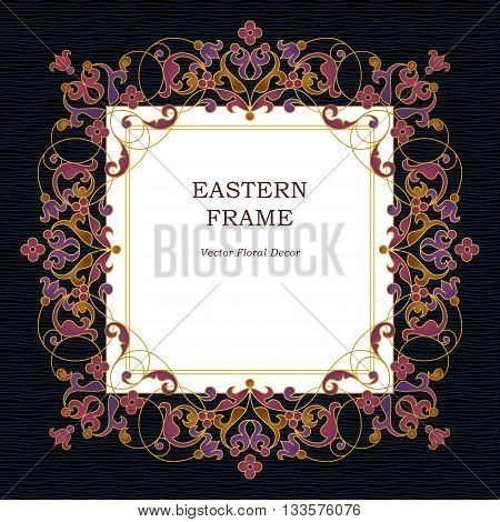 Vector Square Frame In Eastern Style.