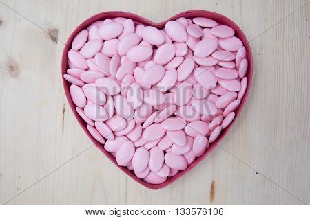 Pink Sugar Covered Almonds Surface Top View Heart Symbol