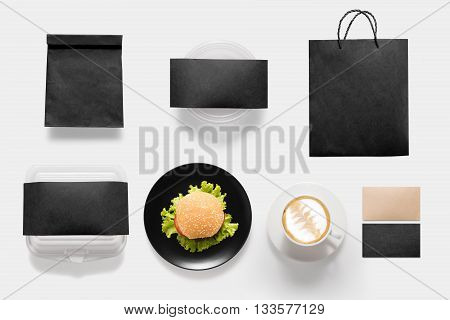Design Concept Of Mockup Burger And Coffee Break Time Set Isolated On White Background. Copy Space F