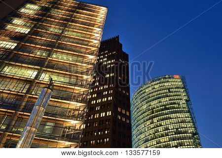 BERLIN OCTOBER 27: The Potsdamer Platz at night on October 27 2014 in Berlin Germany. The Potsdamer Platz is the new modern city center of Berlin.