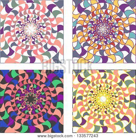 Vector set of psychedelic coloured circular mosaics ornaments. Seamless oriental pattern mandala