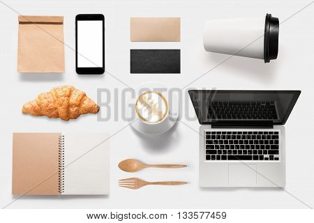 Design Concept Of Mockup Coffee Break Time Isolated On White Background. Copy Space For Text And Log