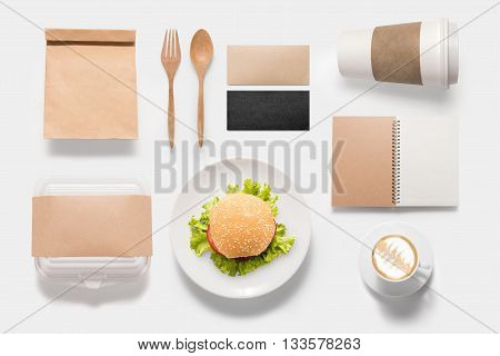 Design Concept  Brand Of Mockup Burger Set Isolated On White Background. Copy Space For Text And Log