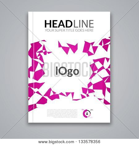 Cover report colorful magenta triangle geometric prospectus design background, cover flyer magazine, brochure book cover template layout, vector illustration.