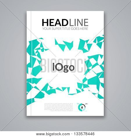 Cover report colorful green triangle geometric prospectus design background, cover flyer magazine, brochure book cover template layout, vector illustration.