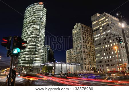 BERLIN, OCTOBER 27: The Potsdamer Platz at night on October 27, 2014 in Berlin, Germany. The Potsdamer Platz is the new modern city center of Berlin.