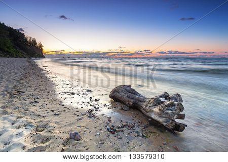 Baltic sea in Gdynia Orlowo at sunrise, Poland