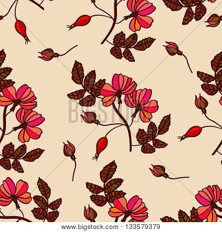 Vector vintage seamless pattern with eglantine. Vintage briar background with roses