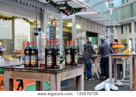 BERLIN - DECEMBER 25: Gluhwein (Mulled wine) for sale in a street on 25 December 2014 in Berlin Germany. Gluhwein is a traditional beverage that is offered during the Christmas holidays.