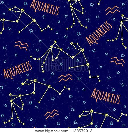 Seamless vector pattern. Background with the image of constellation Aquarius zodiac sign on a dark blue background with blue stars. Pattern for design packaging, design brochures, printing on textiles