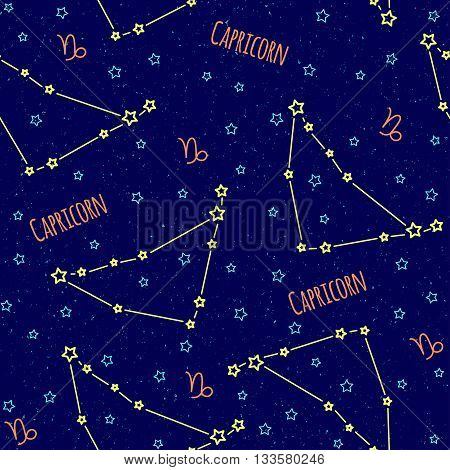 Seamless vector pattern. Background with the image of constellation Capricorn zodiac sign on a dark blue background with blue stars. Pattern for design packaging, design brochures printing on textiles