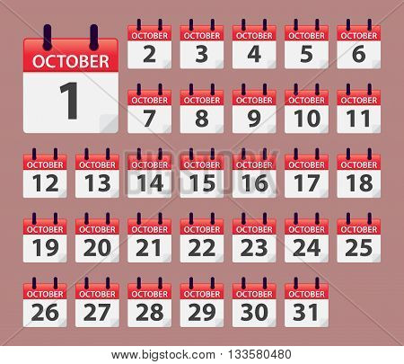 Vector stock of October Daily Calendar template icon collections