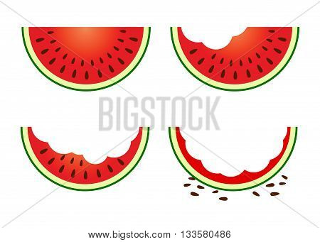 Vector stock of a slice of watermelon in different eating stages