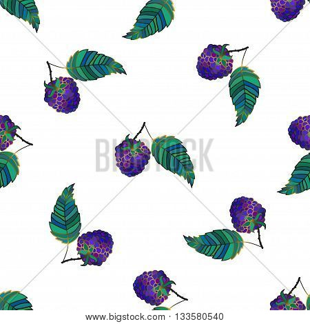 Vector seamless pattern with a blackberry branch