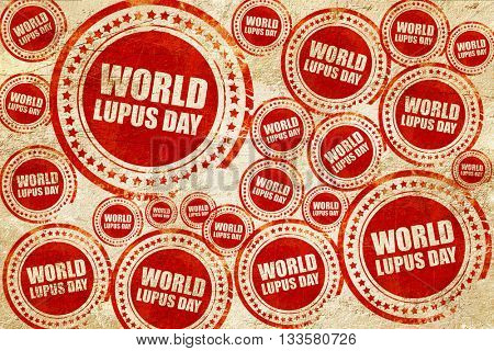 world lupus day, red stamp on a grunge paper texture