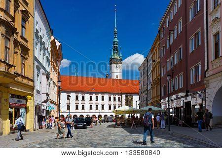 OLOMOUC, CZECH REPUBLIC - JUNE 04, 2016: One of the squares of the old town of Olomouc, Czech Republic on June 04, 2016.