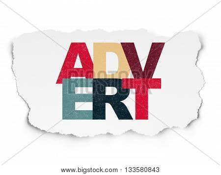 Marketing concept: Painted multicolor text Advert on Torn Paper background