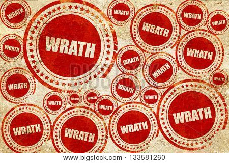 wrath, red stamp on a grunge paper texture