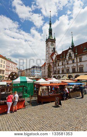 OLOMOUC, CZECH REPUBLIC - JUNE 04, 2016: Market in the main square of the old town of Olomouc, Czech Republic on June 04, 2016.
