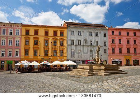 OLOMOUC, CZECH REPUBLIC - JUNE 04, 2016: One of the main squares in the old town of Olomouc, Czech Republic on June 04.