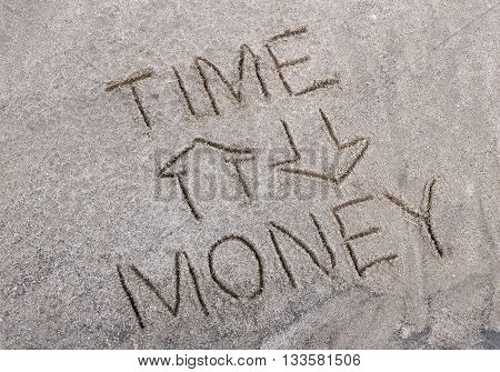 Schematic dependence of time and money drawn on the sandy soil