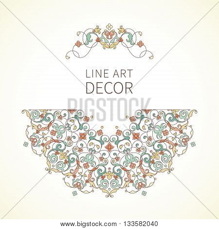 Vector Floral Vignette In Eastern Style.