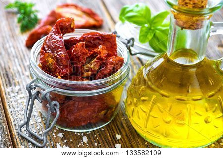 Sun Dried Tomatoes On Wooden Background
