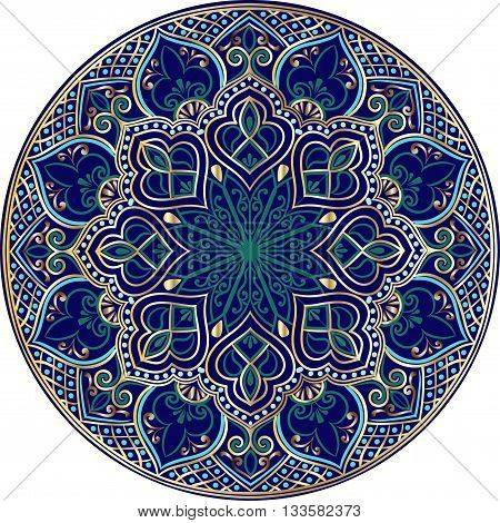 Drawing of a floral mandala in turquoise, darkblue and gold  colors on a white background
