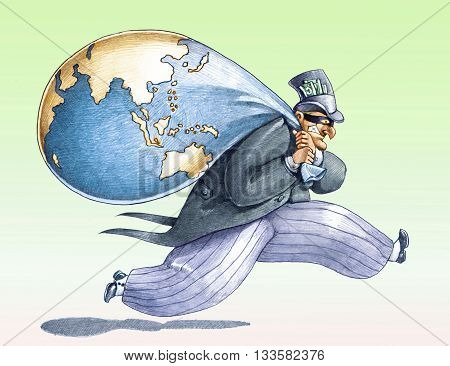 a rich masked steals the world funny illustration