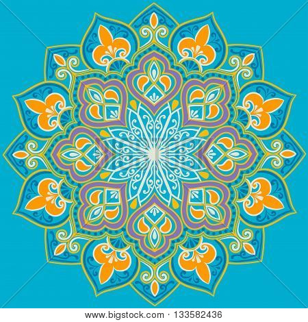 Drawing of a floral mandala in turquoise, blue, orange and white  colors on a turquoise background