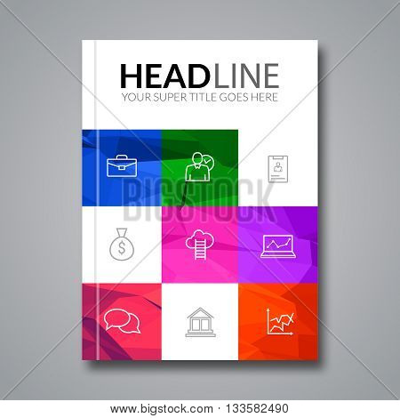 Cover report colorful triangle geometric prospectus design background, cover flyer magazine, brochure book cover template layout, vector illustration.