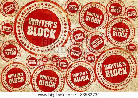 writer's block, red stamp on a grunge paper texture