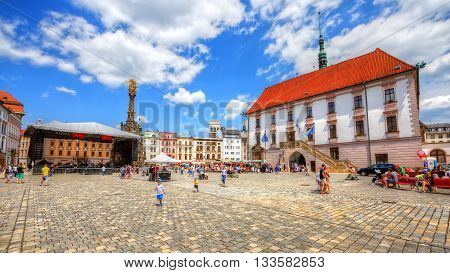 OLOMOUC, CZECH REPUBLIC - JUNE 04, 2016: One of the main squares in the old town of Olomouc, Czech Republic on June 04, 2016.