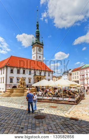 OLOMOUC, CZECH REPUBLIC - JUNE 04, 2016: One of the main squares in the old town of Olomouc, Czech Republic on June 04, 2016.