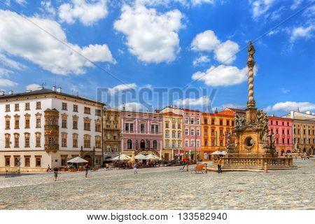 OLOMOUC, CZECH REPUBLIC - JUNE 04, 2016: One of the main squares in the old town of Olomouc, Czech Republic on June 04, 2016. HDR image.