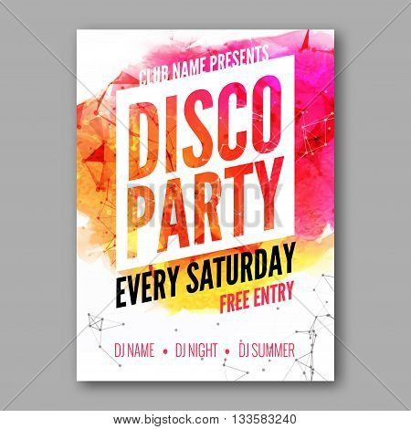 Disco Party Poster Template. Night Dance Party flyer.  Club party design template on colorful background. Dance party watercolor background