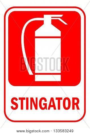 romanian language text fire extinguisher sign illustration