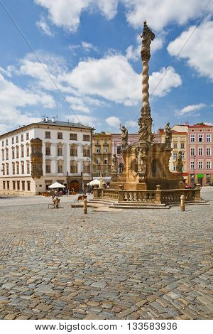 One of the main squares in the old town of Olomouc, Czech Republic.