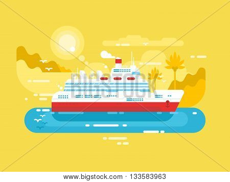 Cruise ship design flat. Marine travel passenger liner, vector illustration