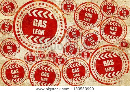 Gas leak background, red stamp on a grunge paper texture