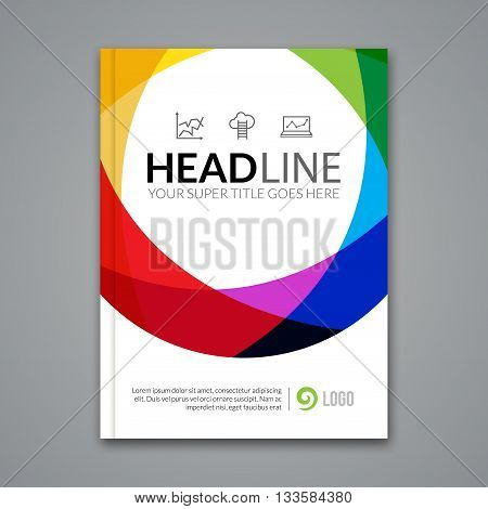 Modern simple colorful circle Vector Template for Business Brochure, Report, Poster, Banner or Flyer Design. Flyer mockup template.
